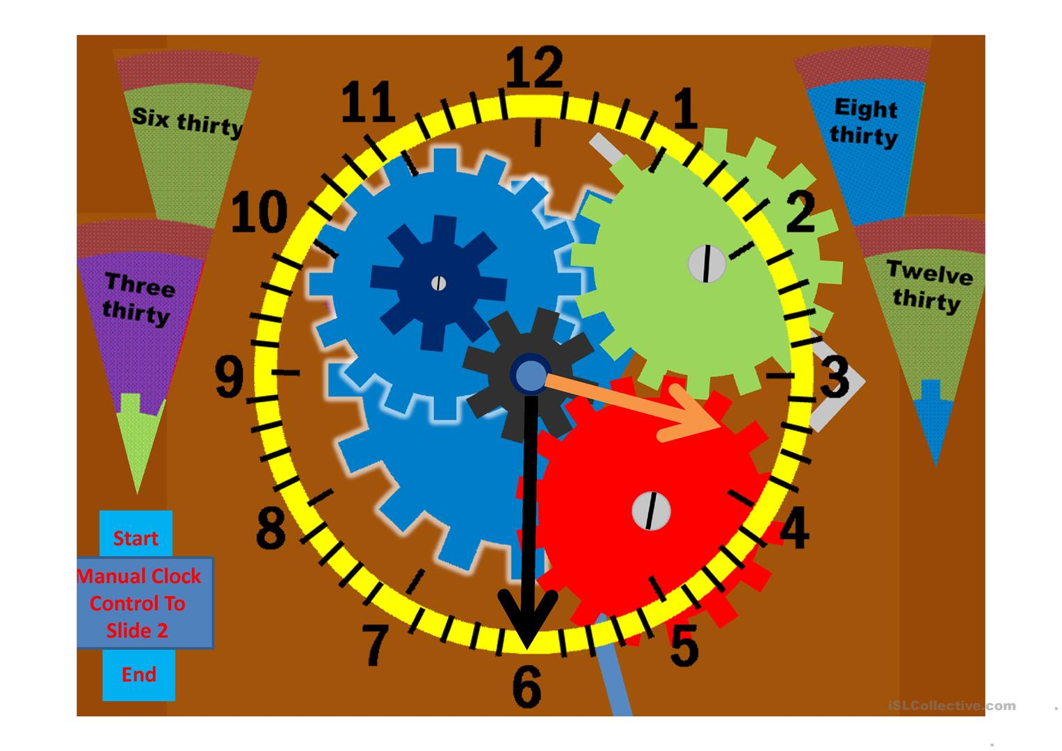 Half Hour Telling The Time Exercise And Practice Clock