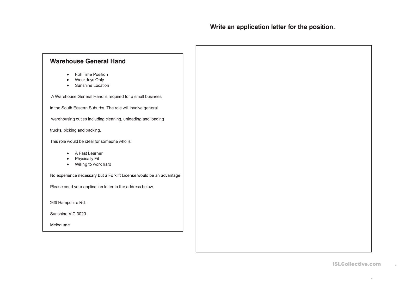 Job Application Letter Worksheet