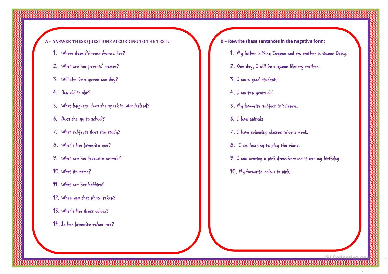 Little Princess Aurora Worksheet
