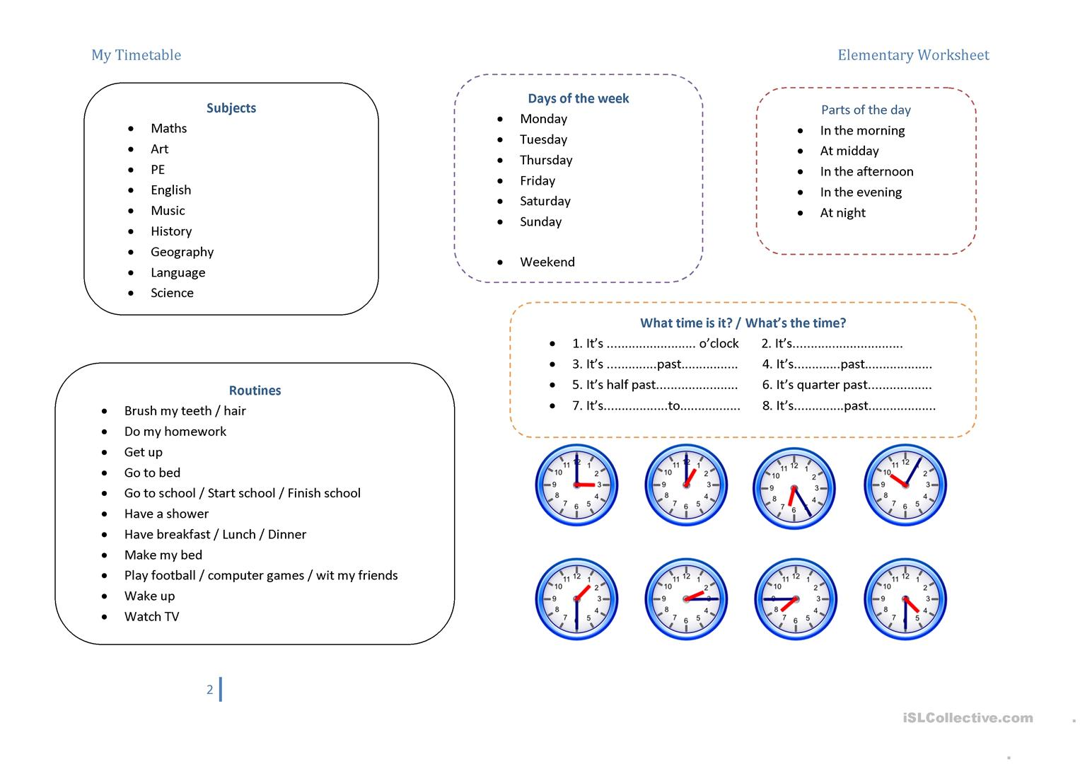 My Timetable Amp Routines Worksheet