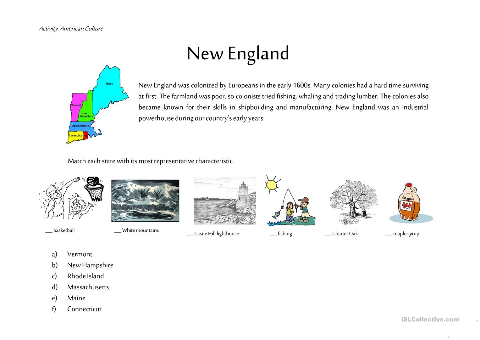 New England Worksheet