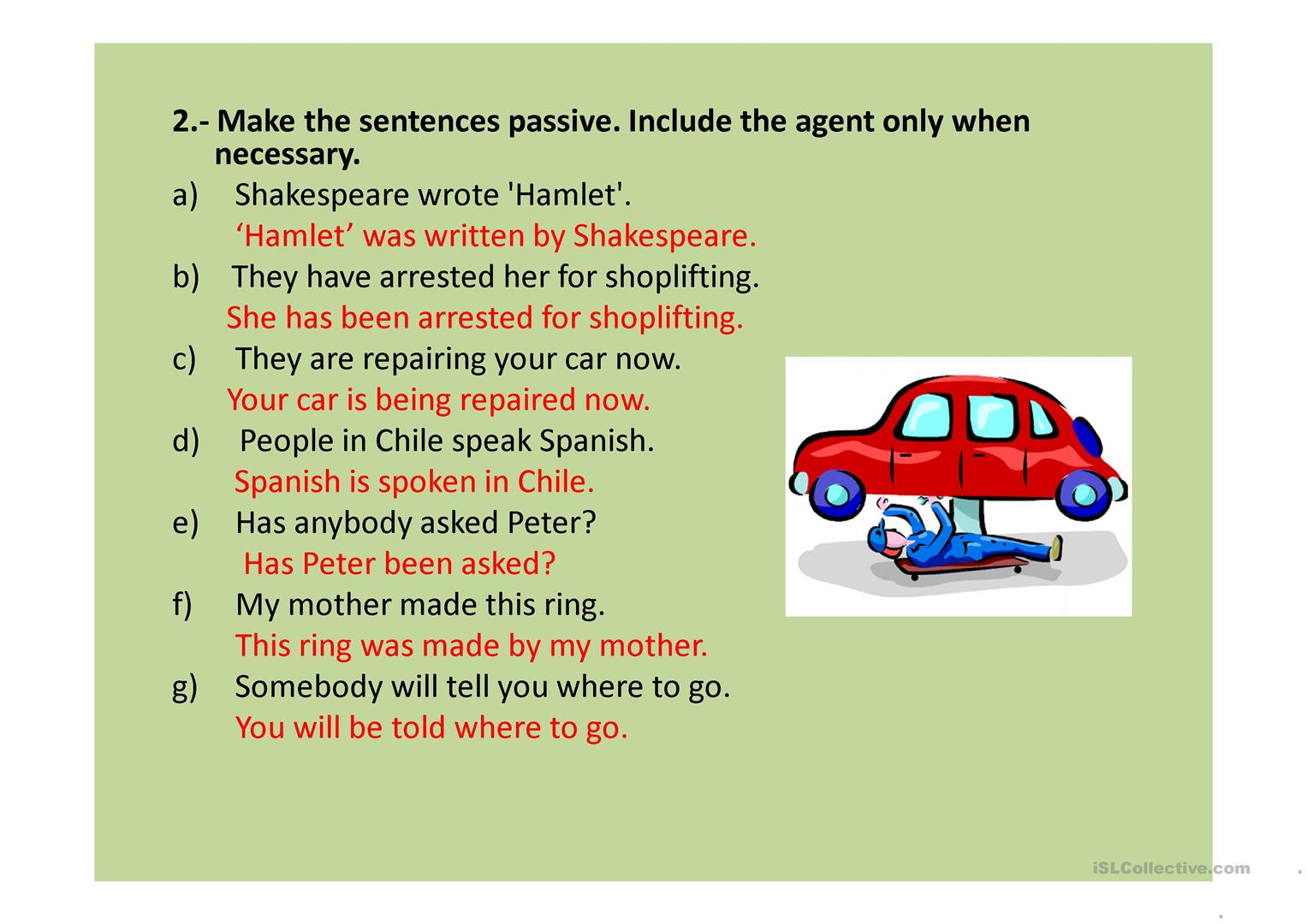 French Passive Voice Worksheet