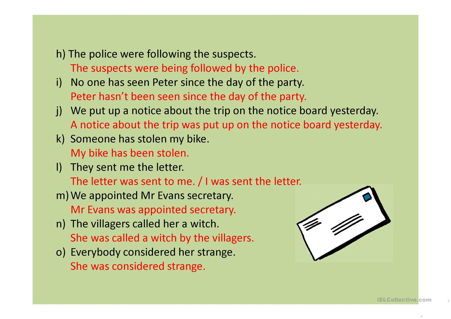 Passive Voice Worksheet Answer