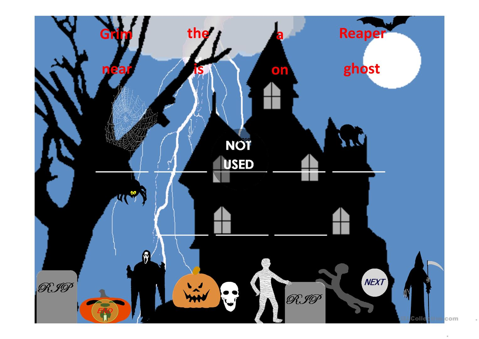 Prepositions Holloween Unscramble The Sentence Part 1 Worksheet