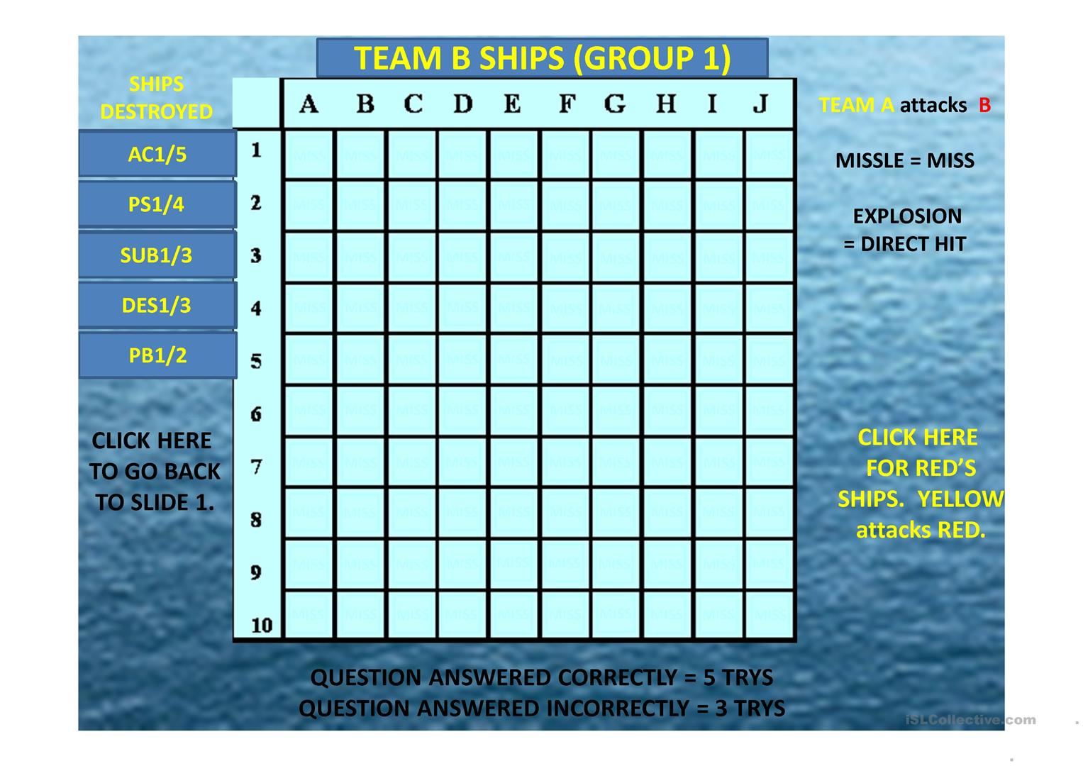 Prepositions Of Time Battleship Interactive Game 34