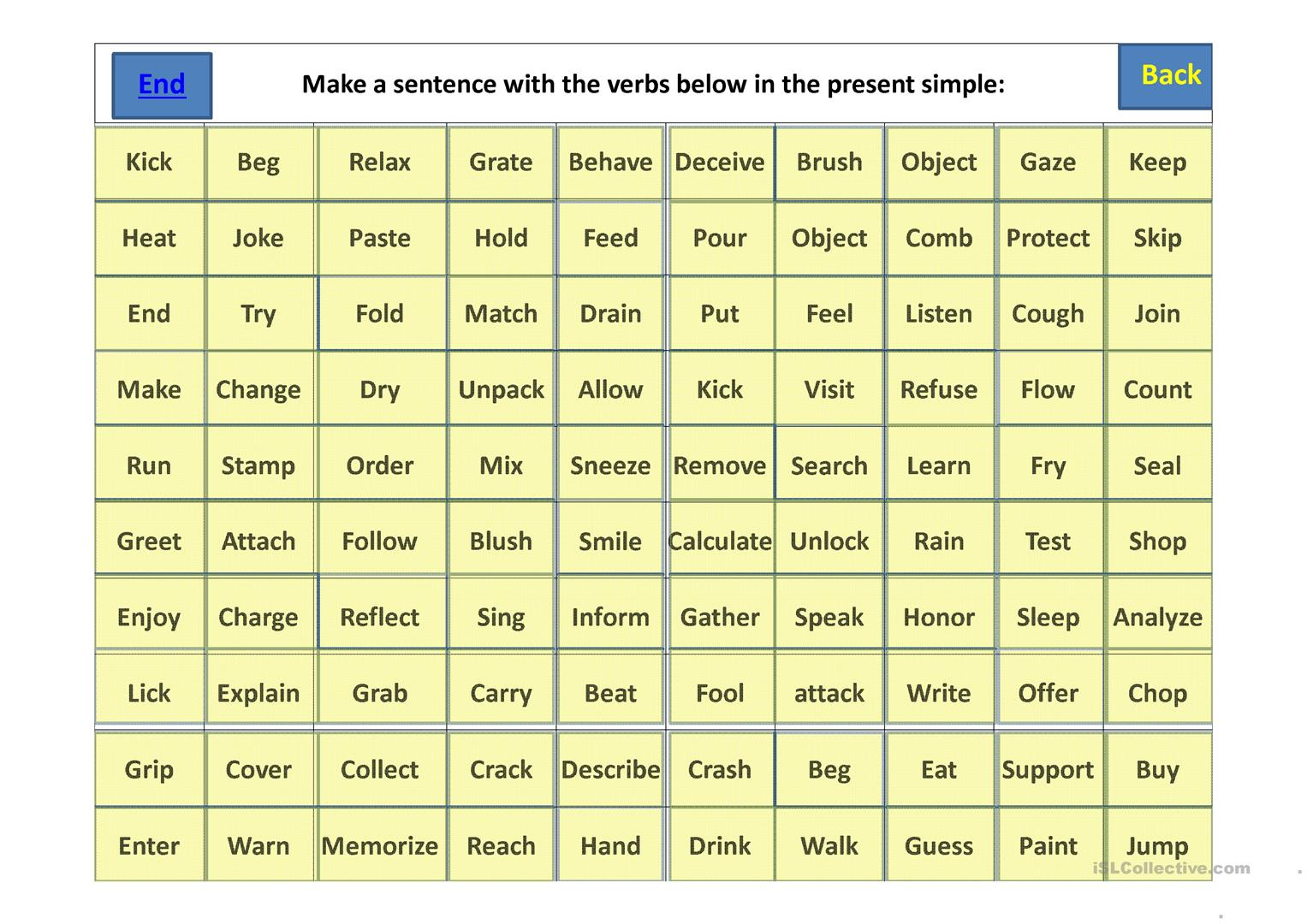 Present Simple Checkers Board Game Worksheet