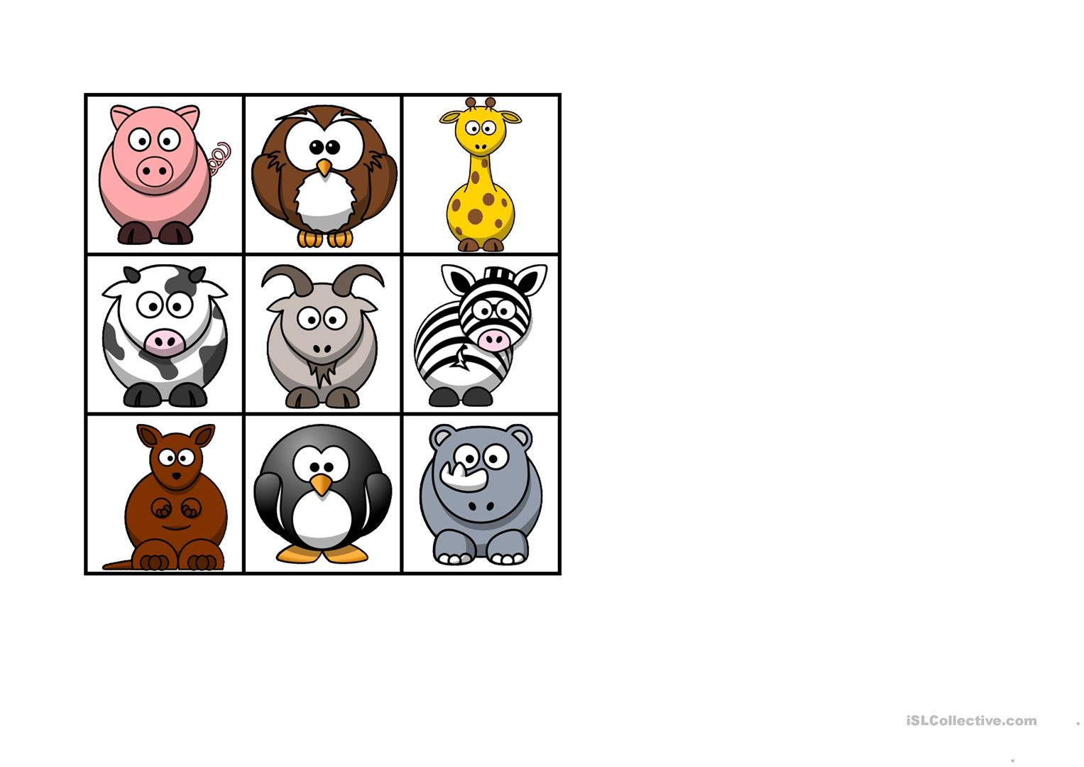 Animal Bingo Worksheet