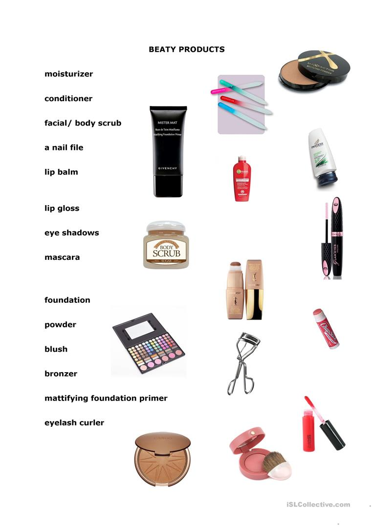 Beauty Products Worksheet