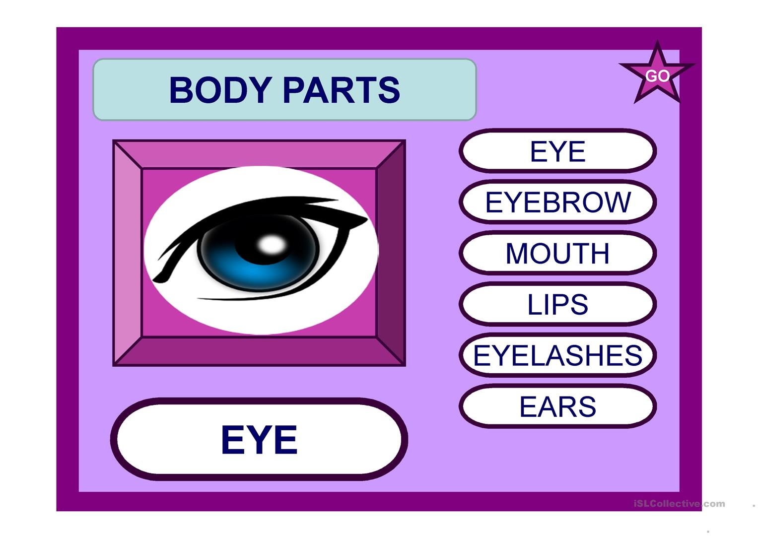 Body Parts 1 Ppt Worksheet