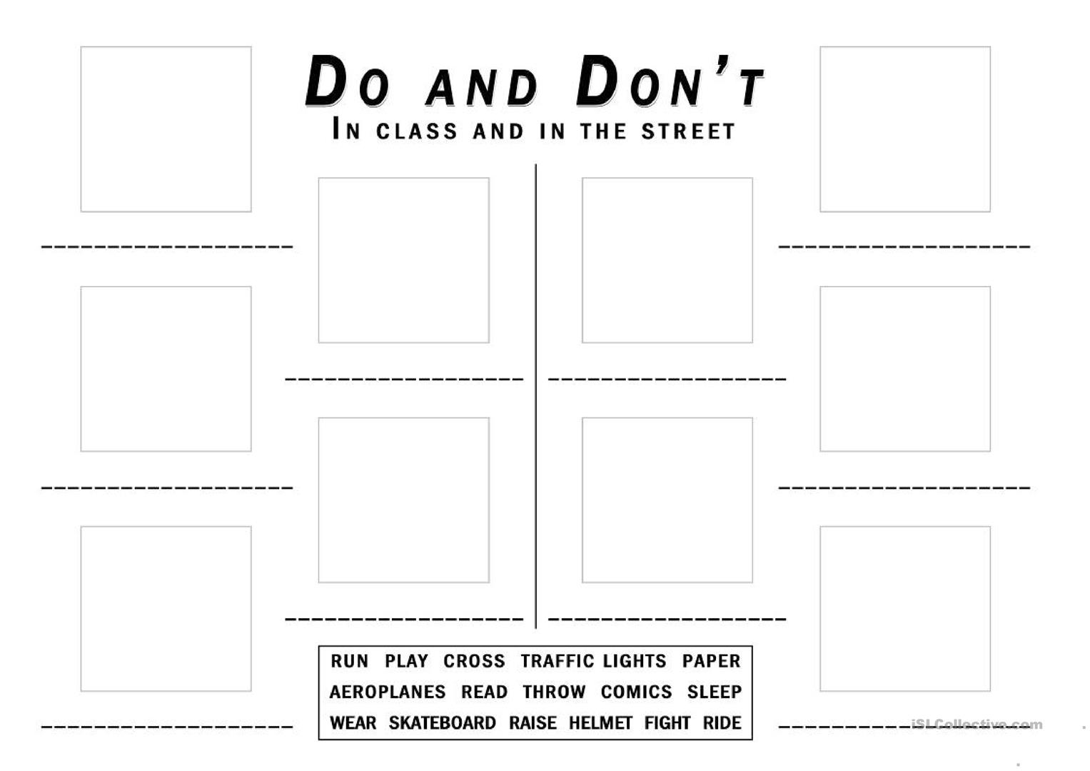 Do S And Don Ts In Class And In The Street Worksheet