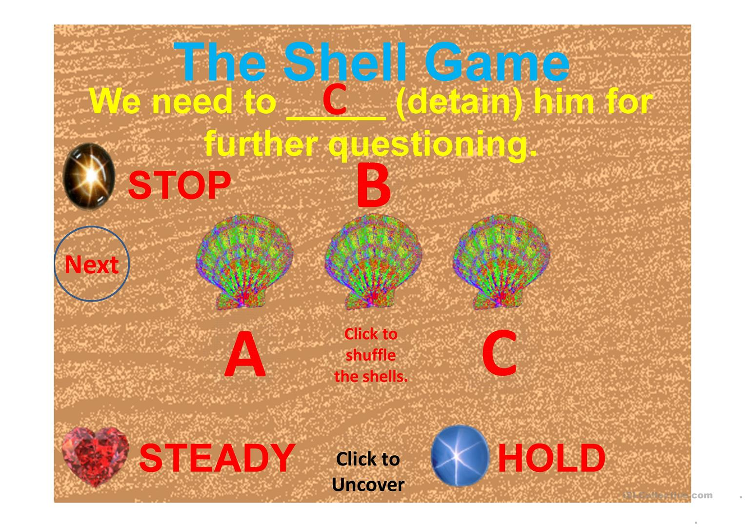 Synonyms Shell Game Worksheet