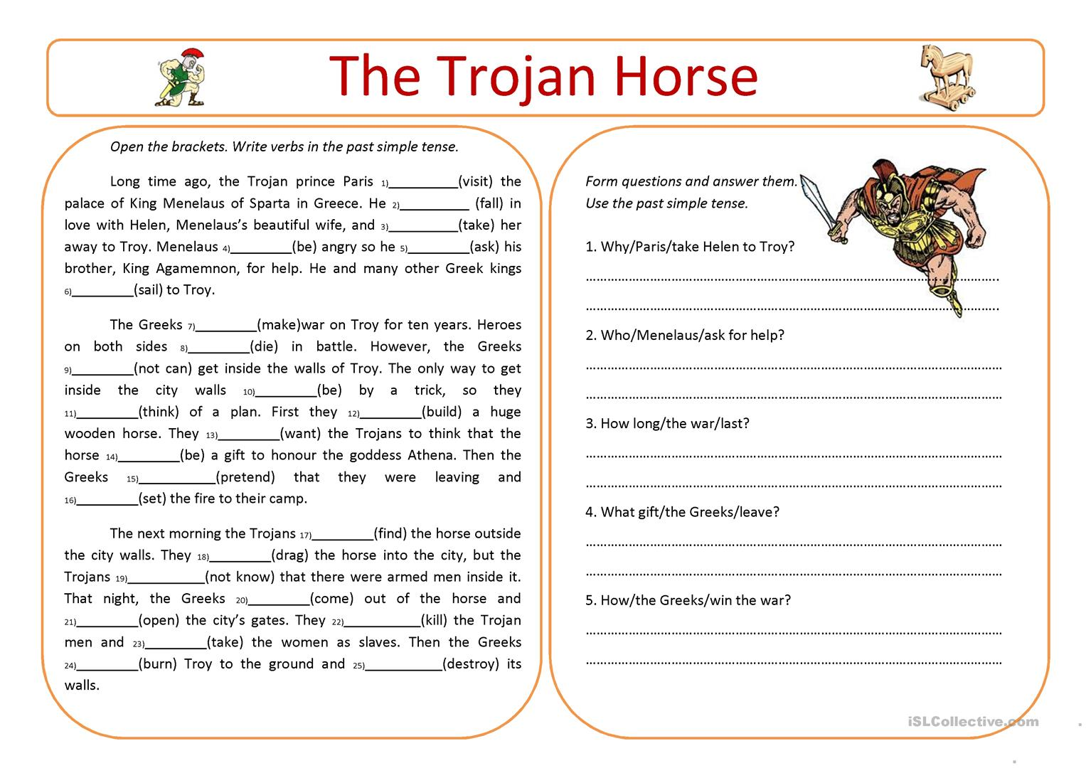 The Trojan Horse Worksheet