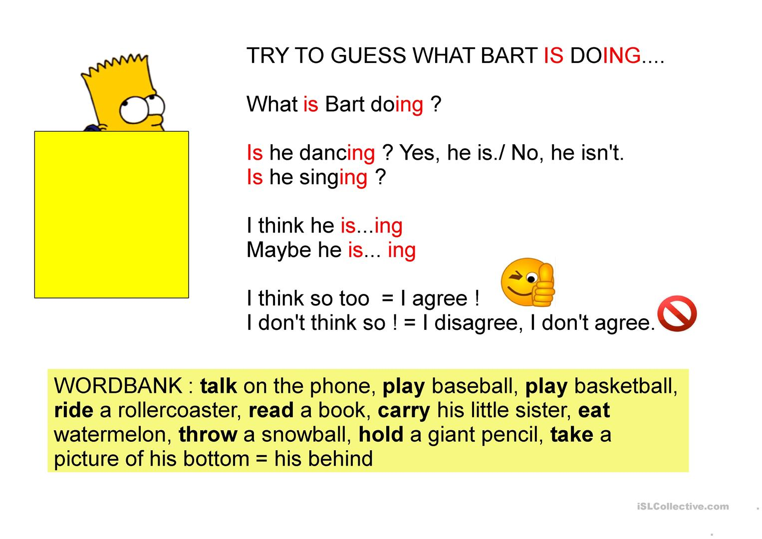 What Is Bart Doing Worksheet