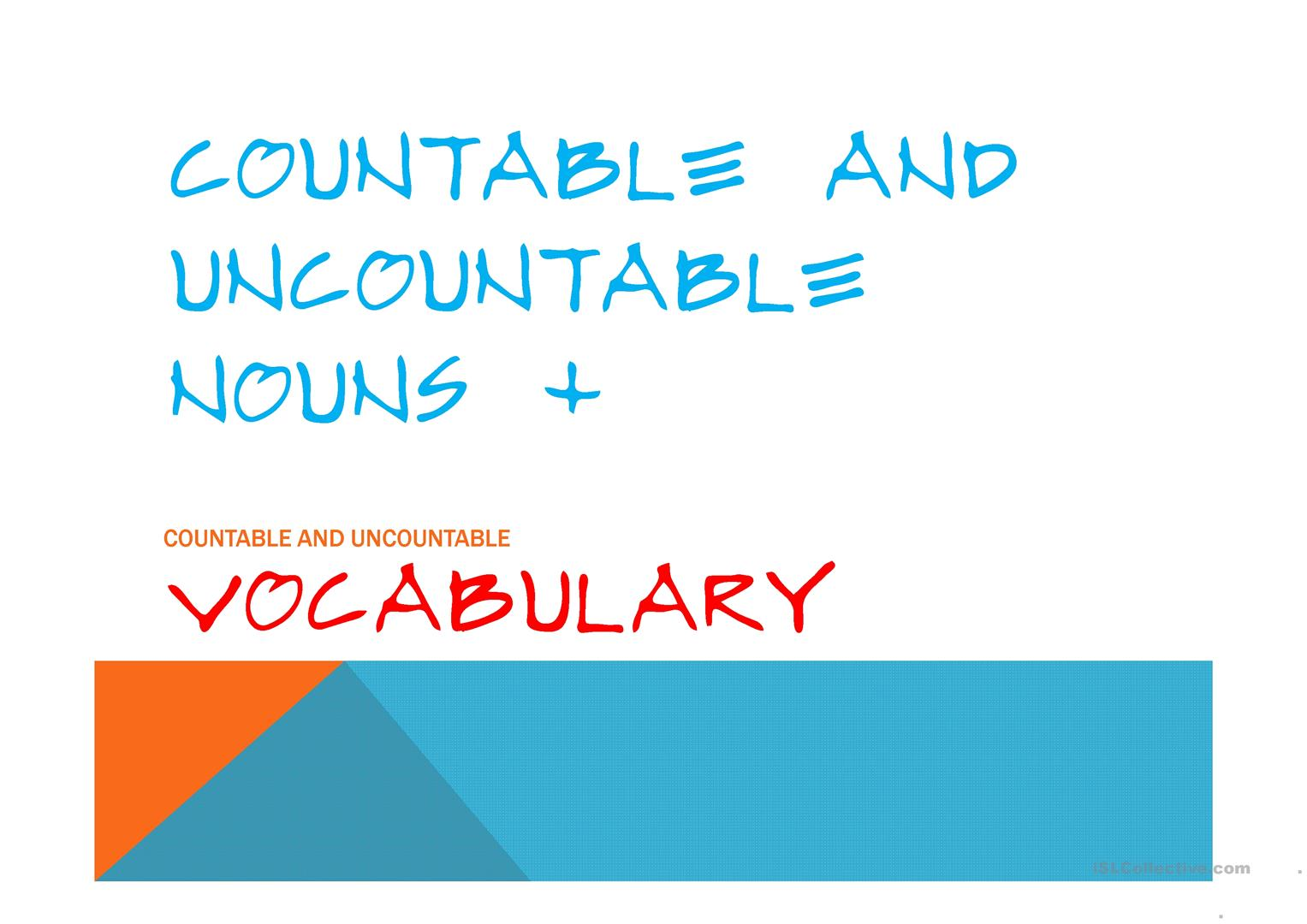 Countables And Uncountables C U Vocabulary Worksheet