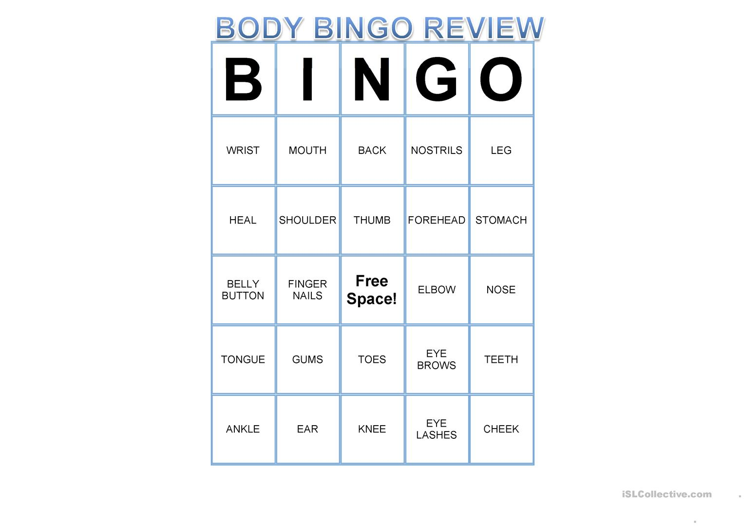 Esl Body Bingo Worksheet