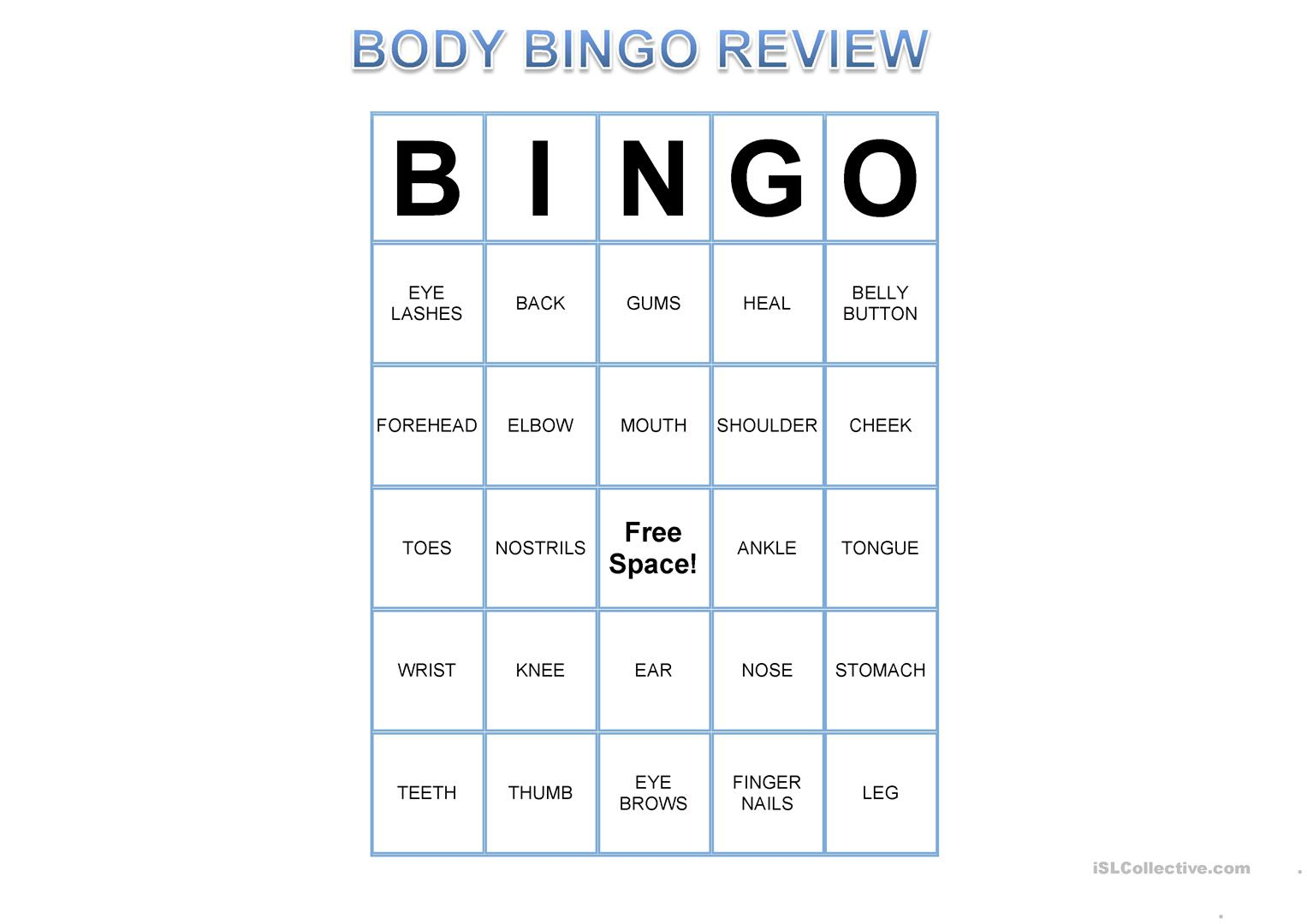 Printable Human Body Bingo Pictures To Pin