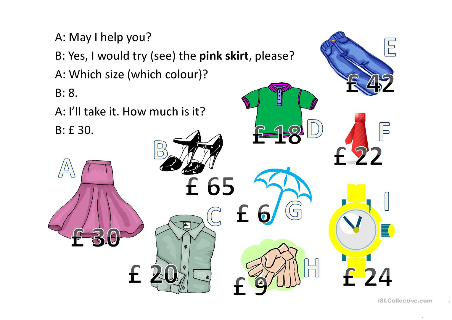 Clothes Worksheet For Beginners