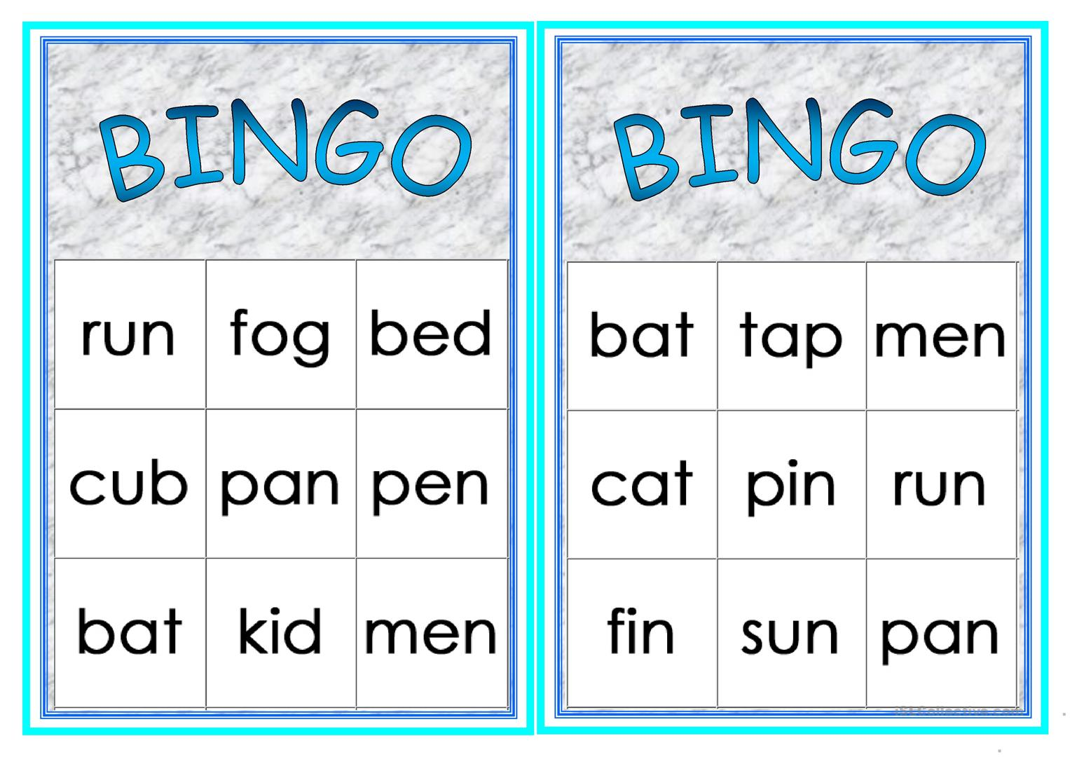Cvc Words Printable Games