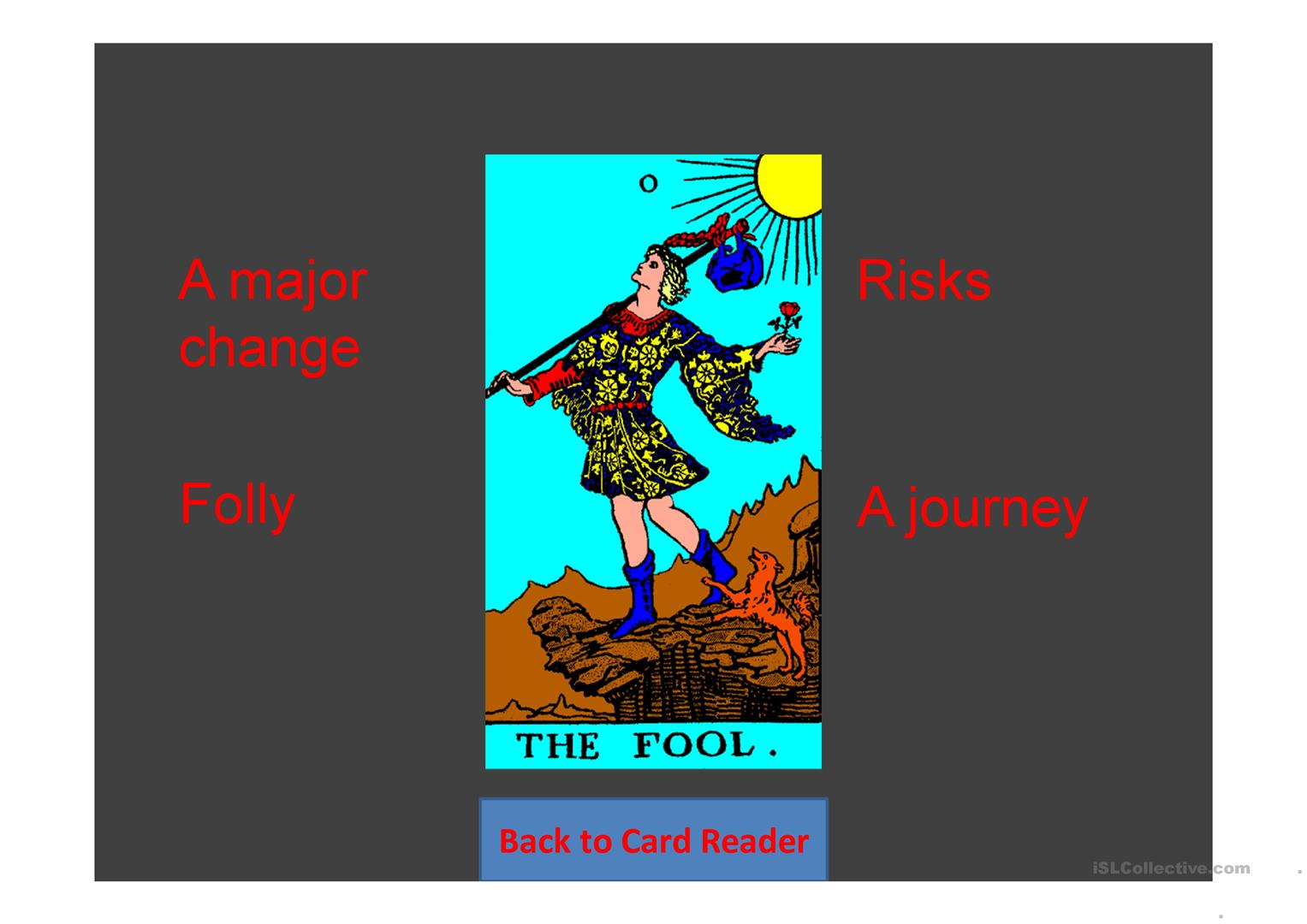 Future Tarot Cards Random Game For Two Teams Worksheet