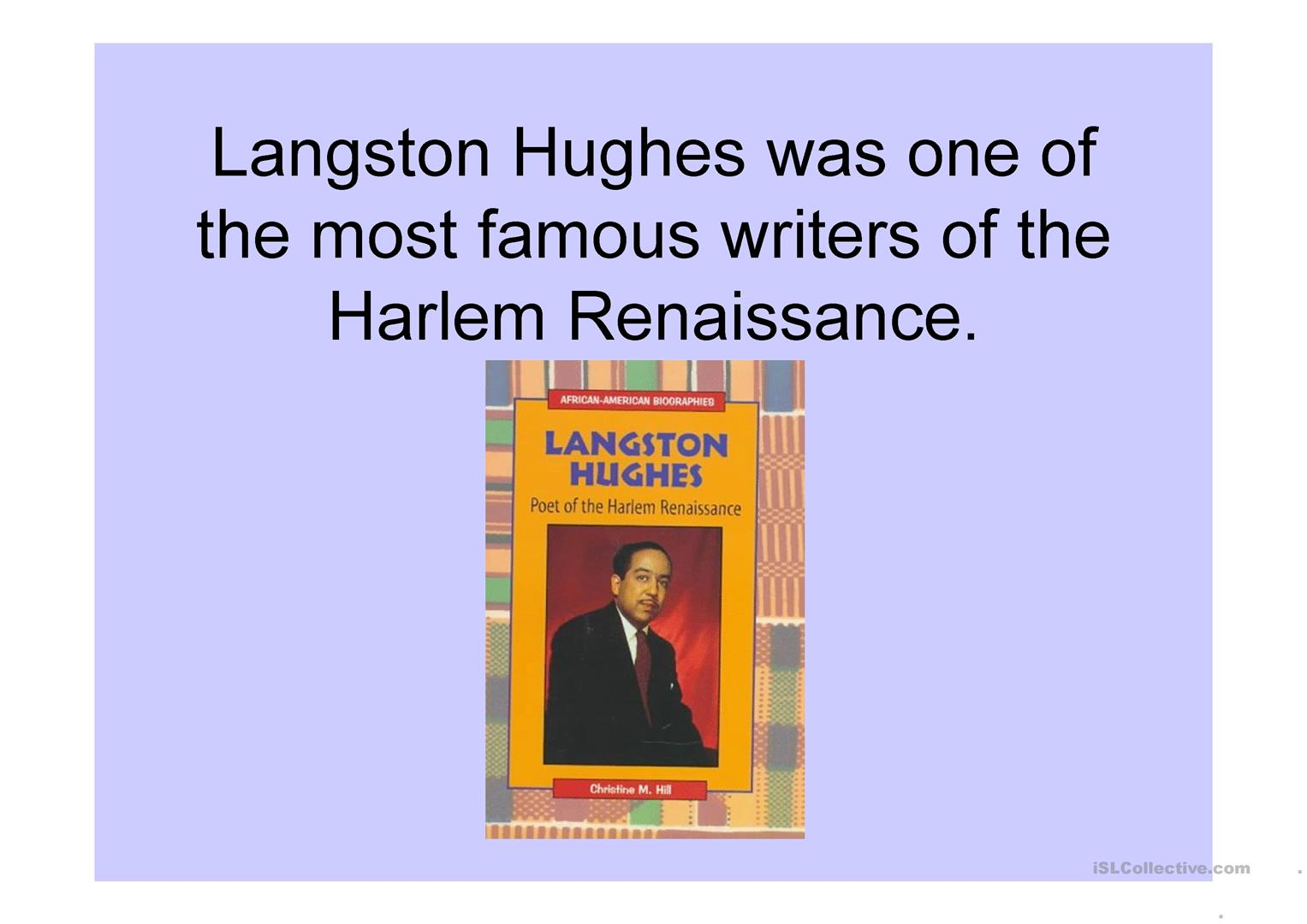 Harlem Renaissance Langston Hughes Thank You M Am Worksheet