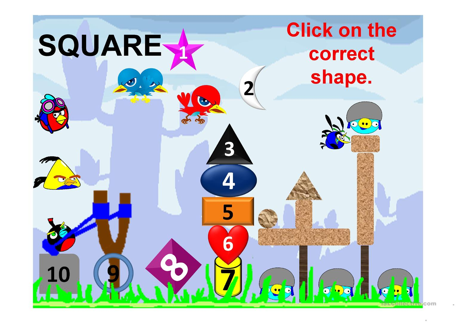 Shapes Angry Bird Game Animated Worksheet