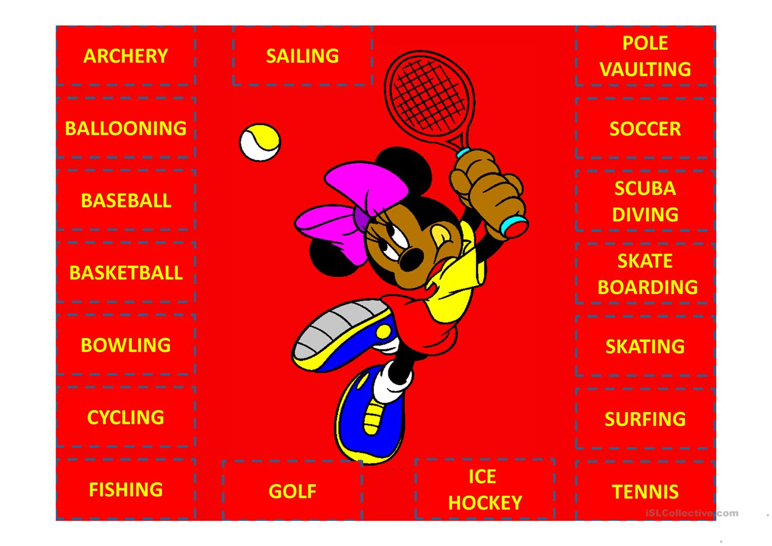 Sports With Mickey Mouse And Friends Worksheet