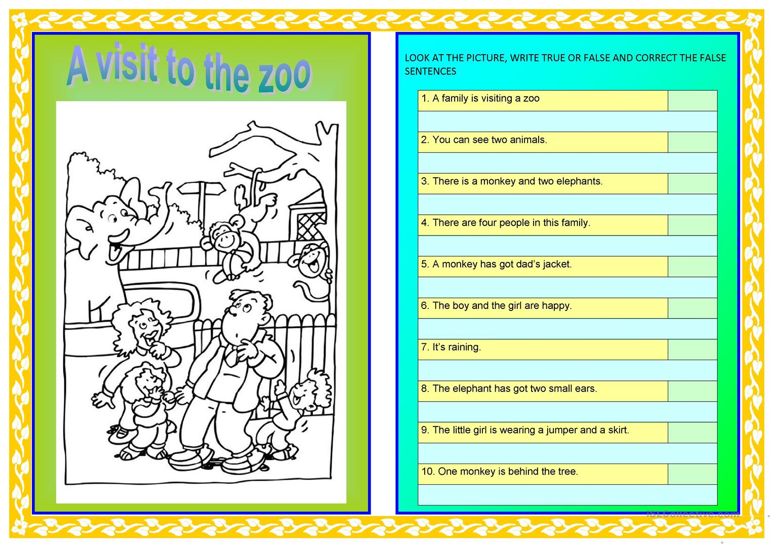 A Visit To The Zoo Worksheet