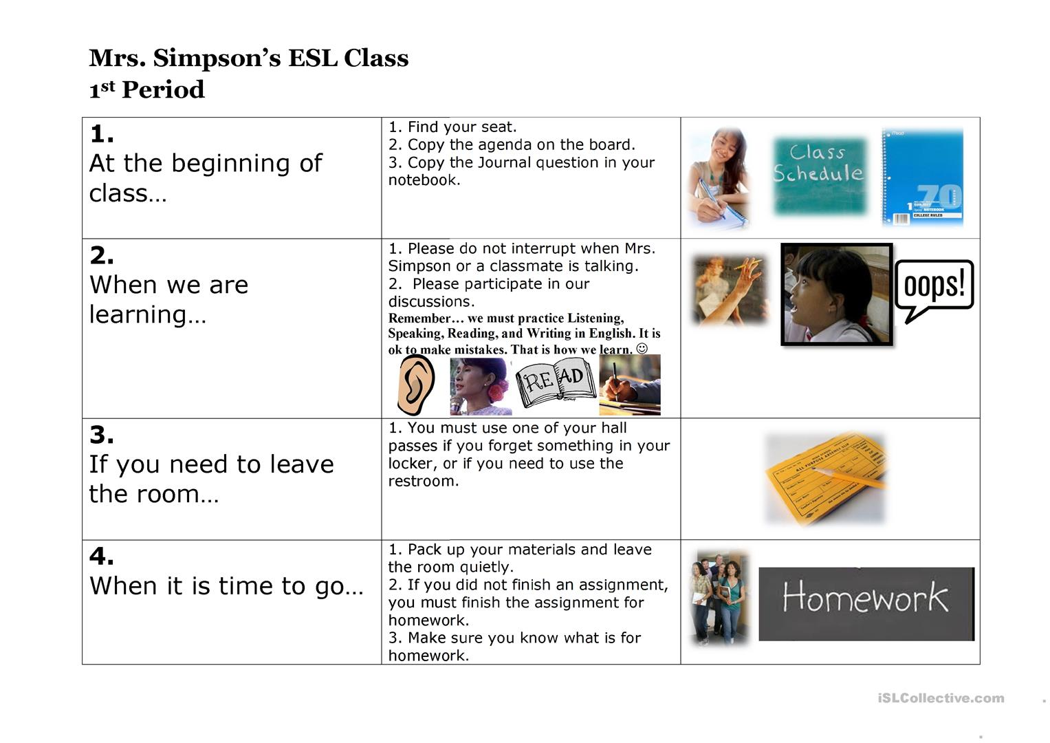 Esl Class Procedures Worksheet