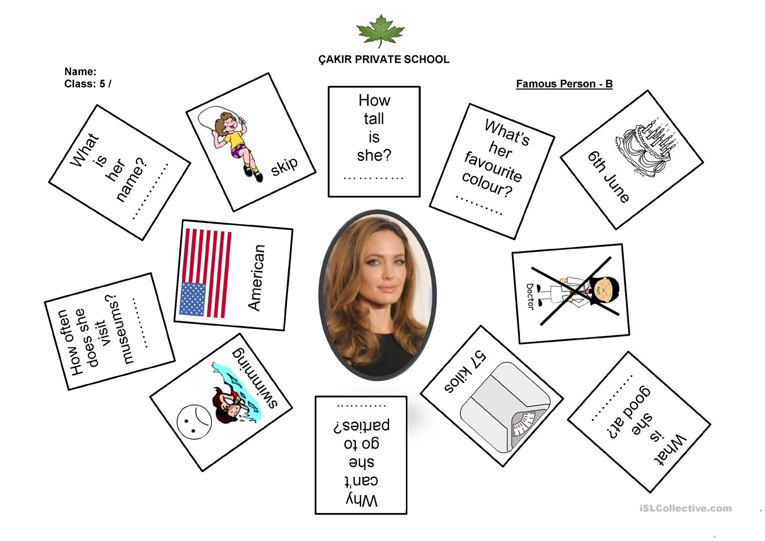 Famous Person Pair Work Worksheet