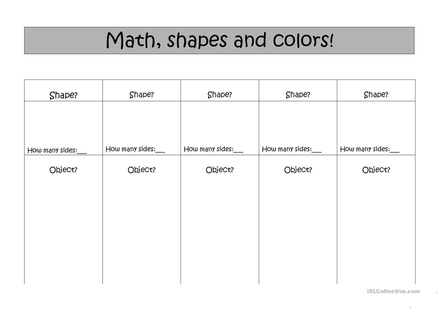 Math Shapes And Colors Worksheet