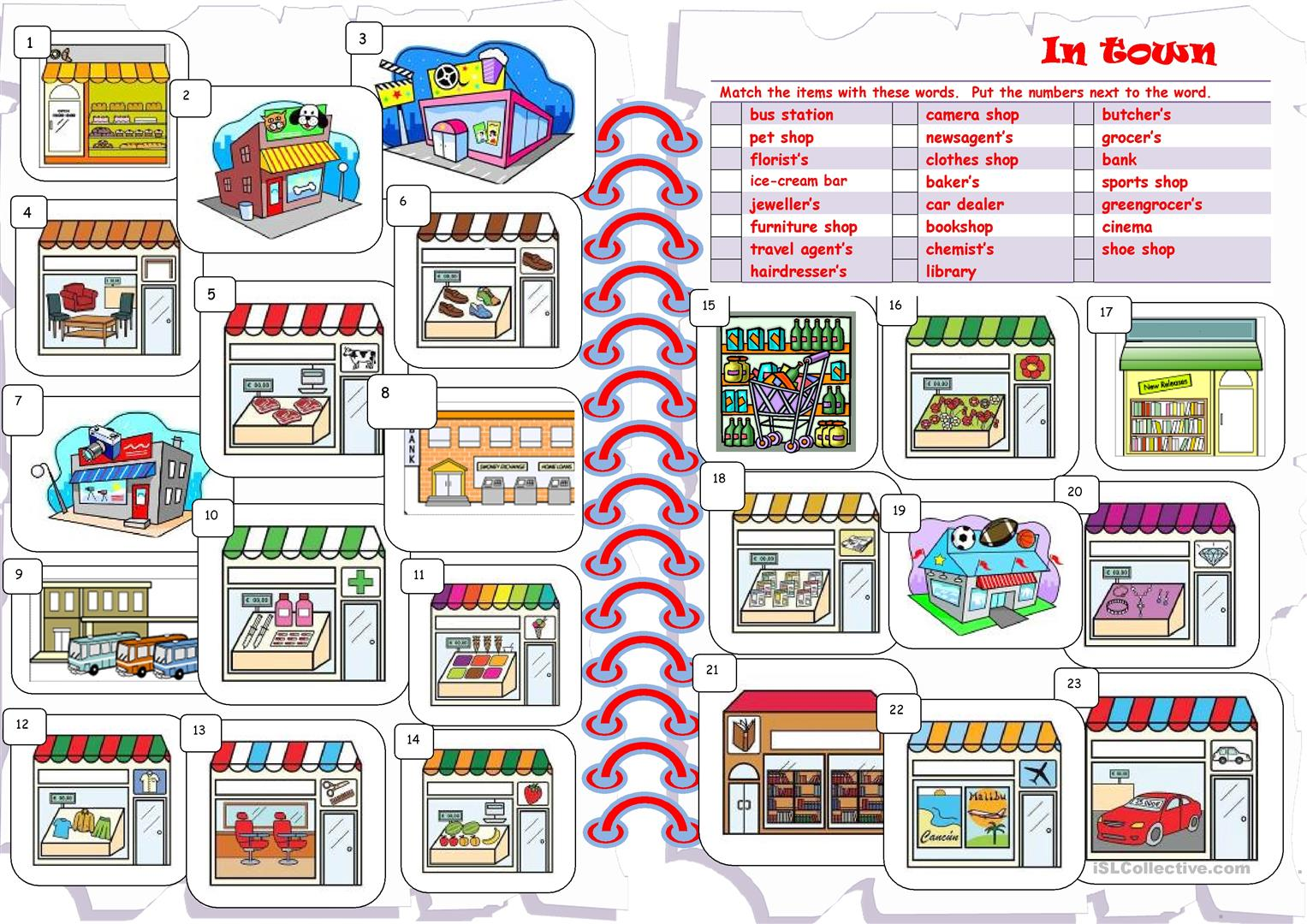 Shops Worksheet