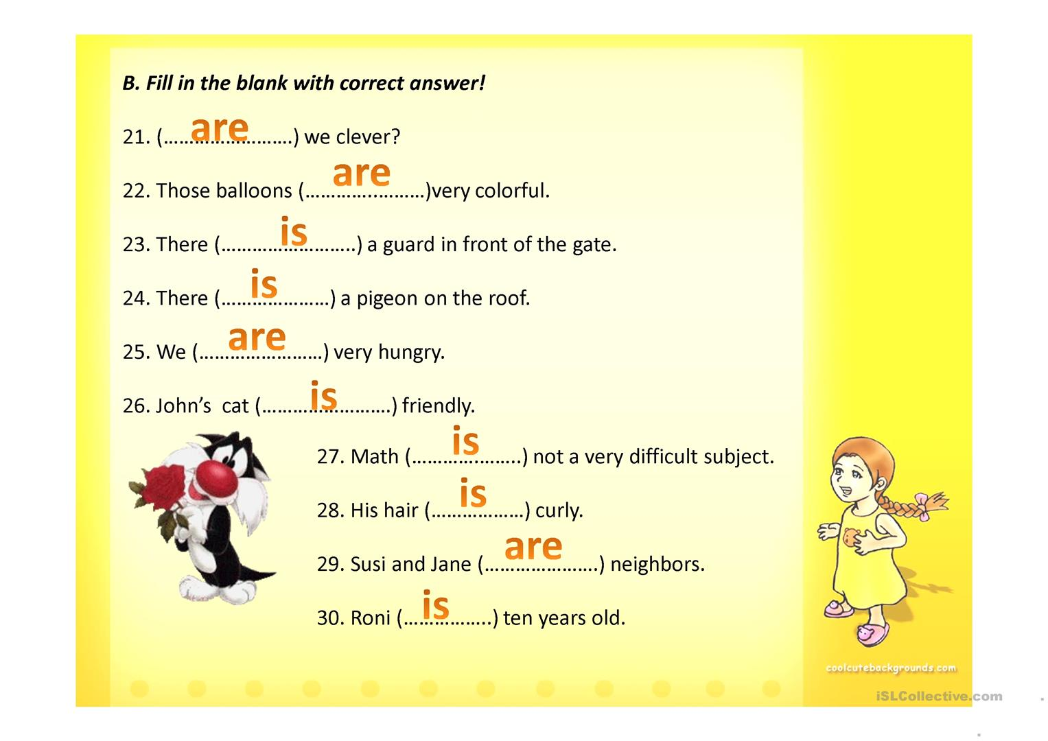 Simple Present Tense To Be Worksheet