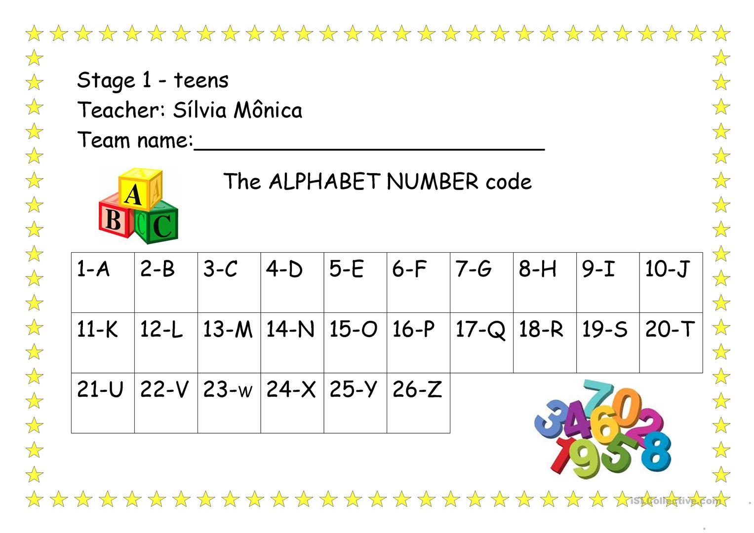 The Alphabet Number Code Worksheet