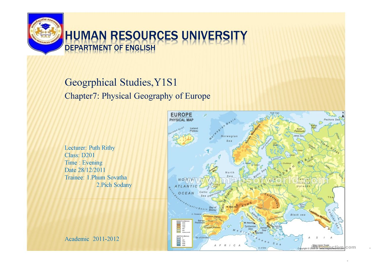The Physical Geography Of Europe Ppt Worksheet