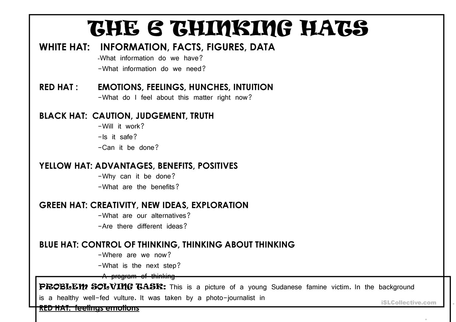 6 Thinking Hats Critical Thinking Lesson Worksheet