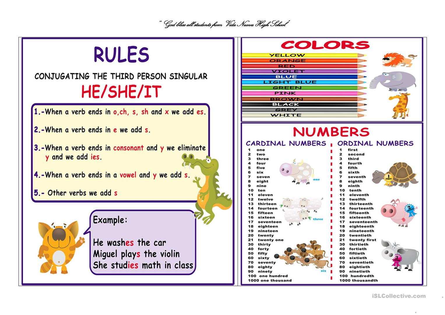 Poster Rules Colors And Numbers