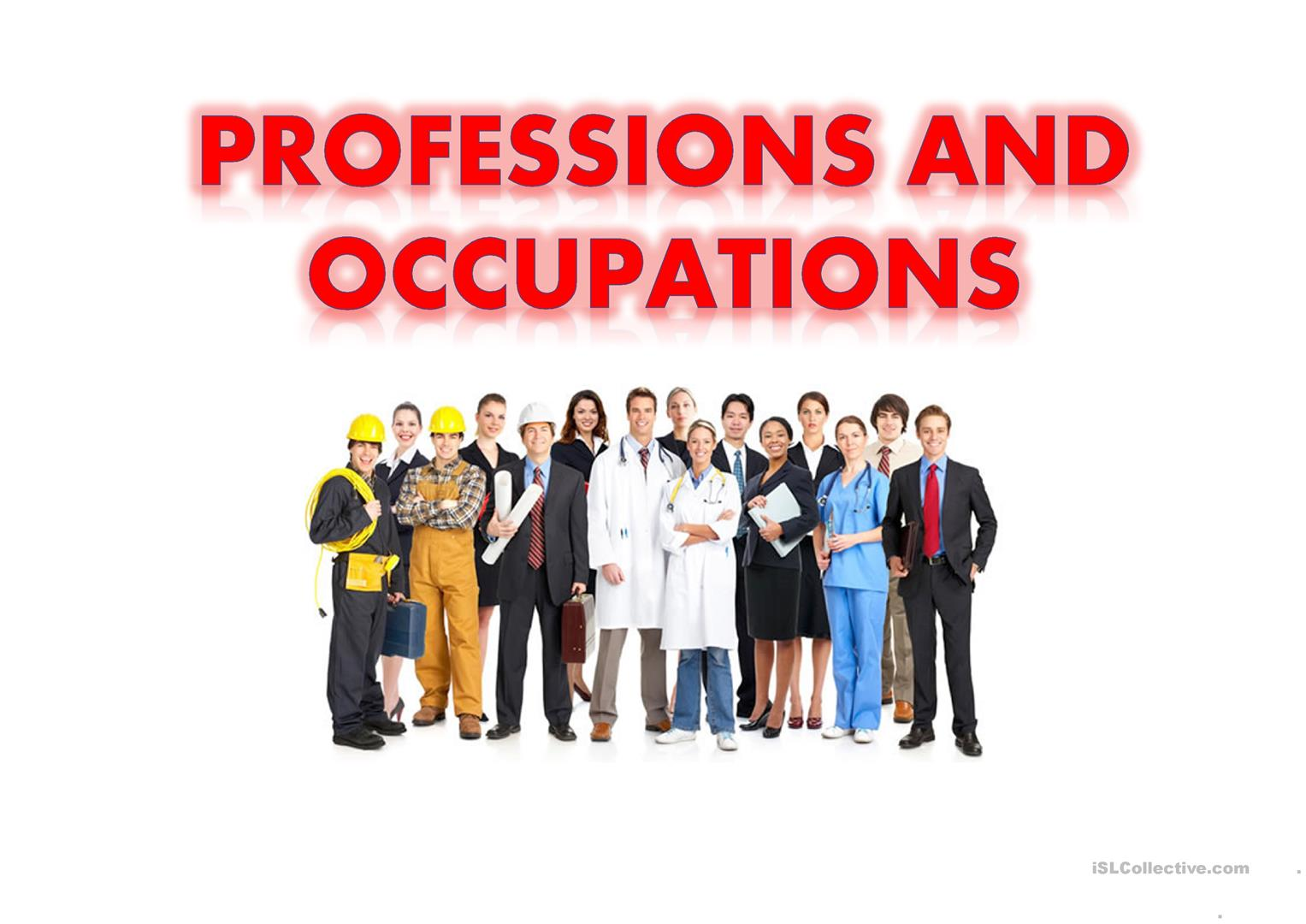 Professions And Occupations Worksheet