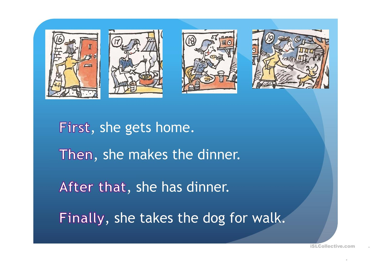 Routine 3rd Person Speaking Pictures First Then Finally Worksheet