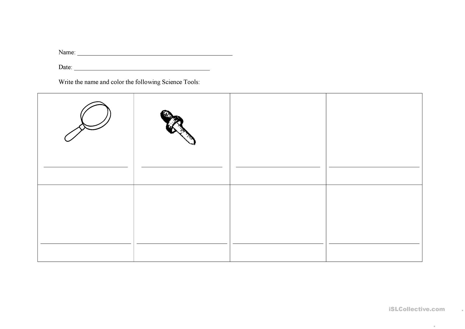 Science Tools Worksheet Worksheet