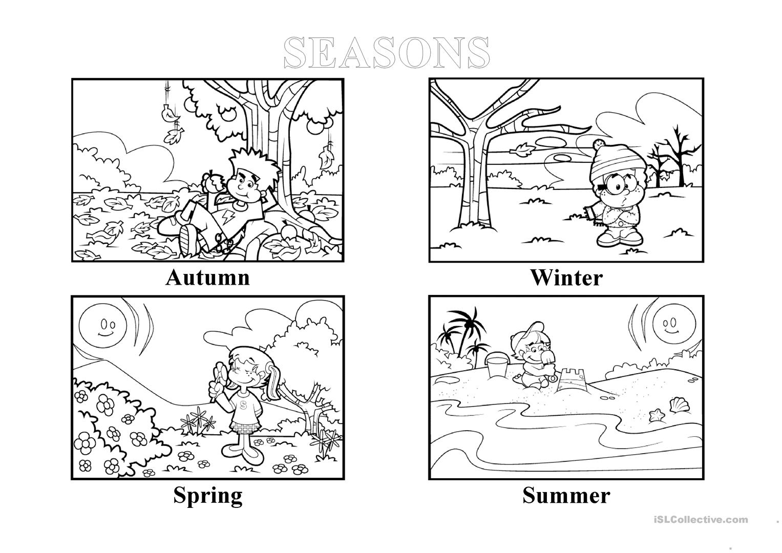 Seasons Matching Worksheet For Kindergarten