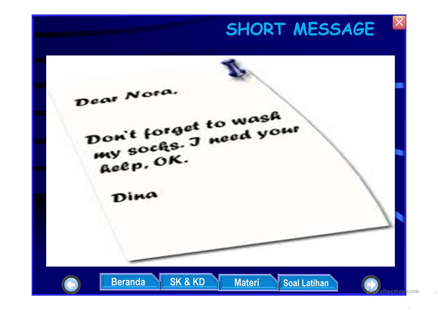 Short Message Worksheet