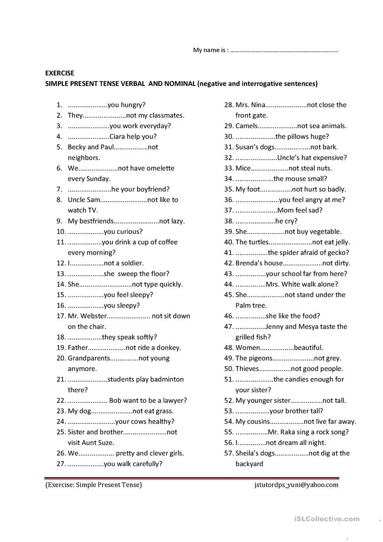 Simple Present Tense To Be And Verb Worksheet
