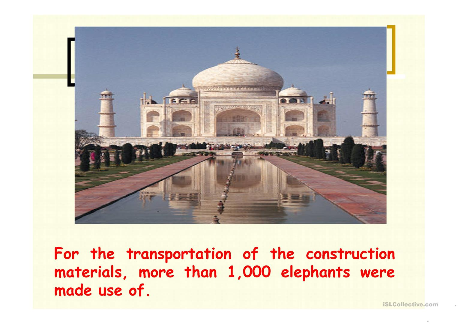 Taj Mahal One Of The Seven Wonders Of The World Worksheet