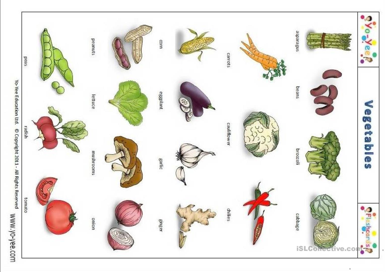 Yo Yee Vegetable Flashcards Pictionary Worksheet