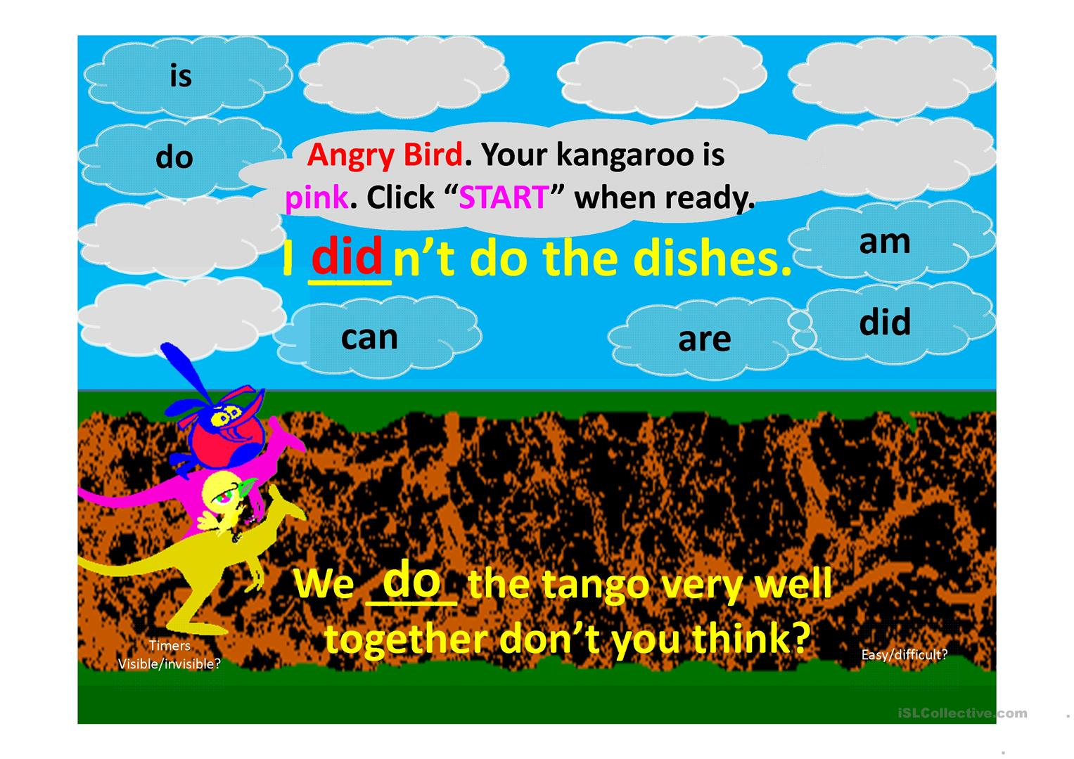 Aux Verbs Ppt Angry Bird Kangaroo Race Game For Two Teams