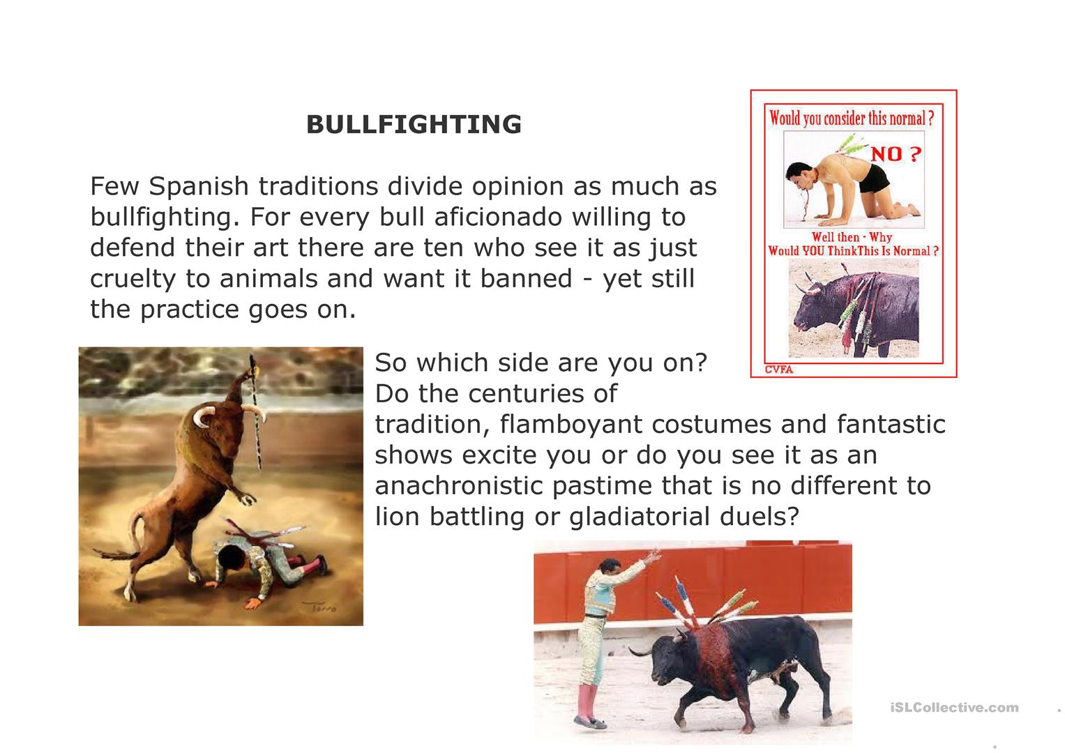 Bullfighting Discussion Worksheet