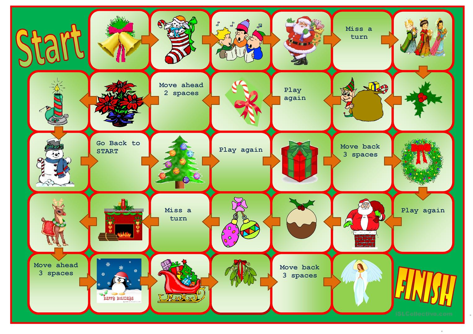 Christmas Boardgame Worksheet