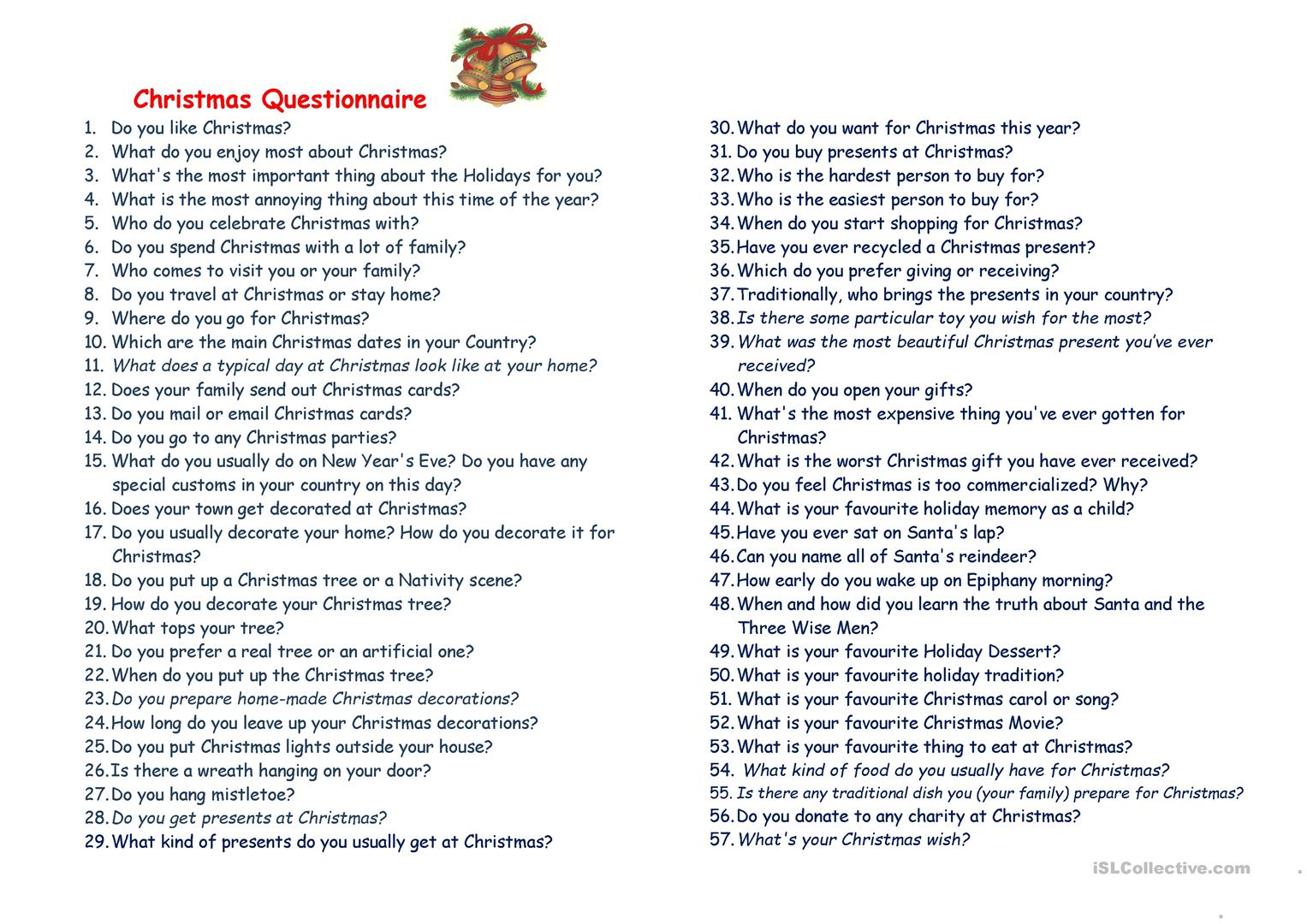 Christmas Questionnaire