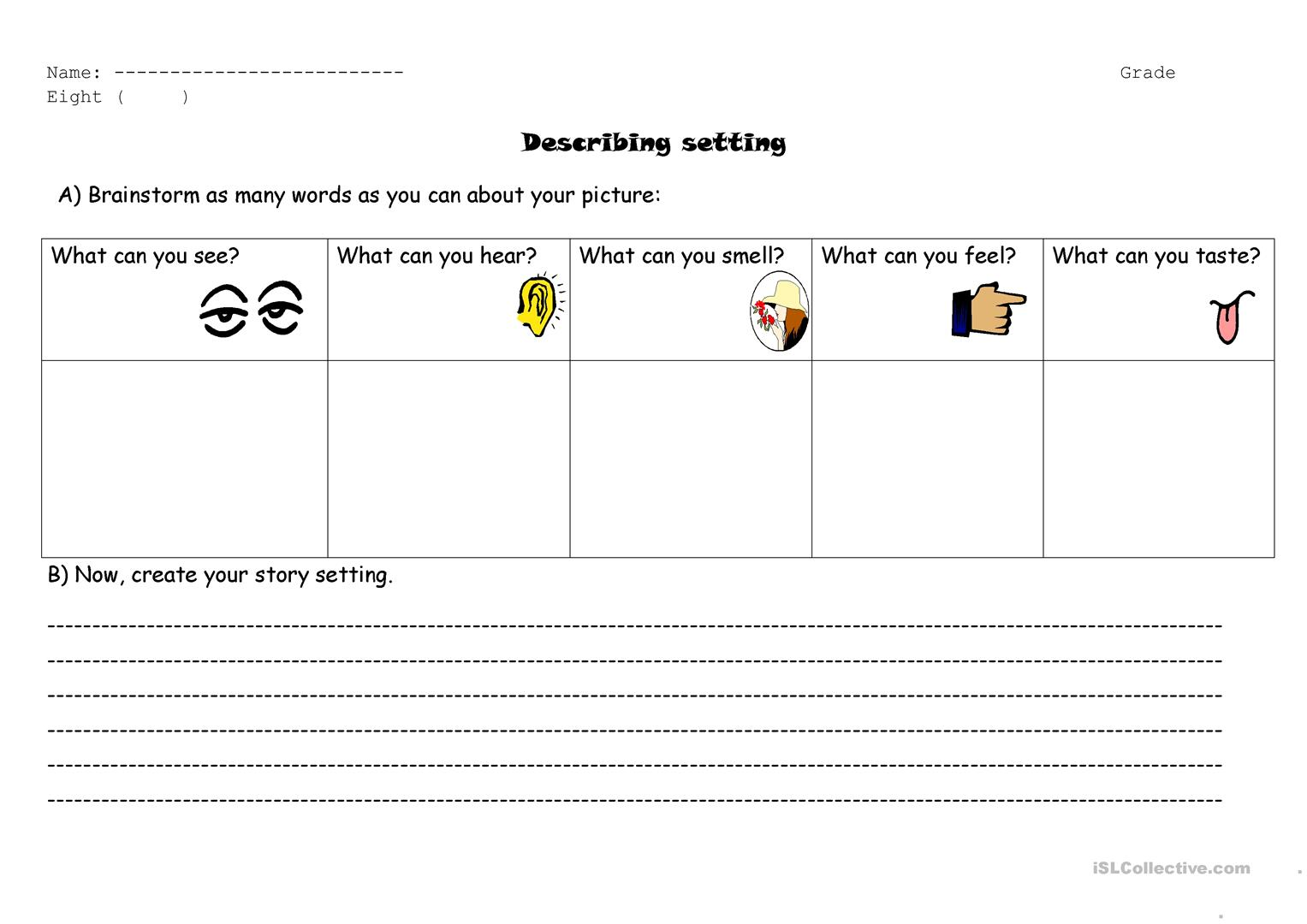 Describing Setting Using Senses Worksheet