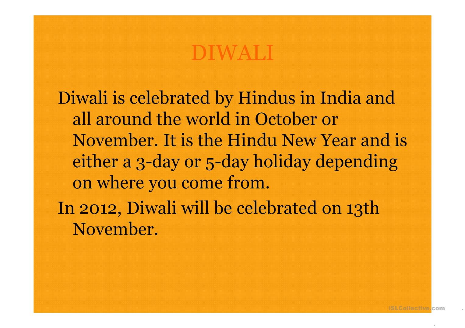 Diwali Worksheet